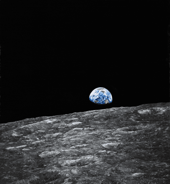 "Chris Calle Hand Signed and Numbered Limited Edition Giclee on Canvas:""Earthrise - Apollo 8"""