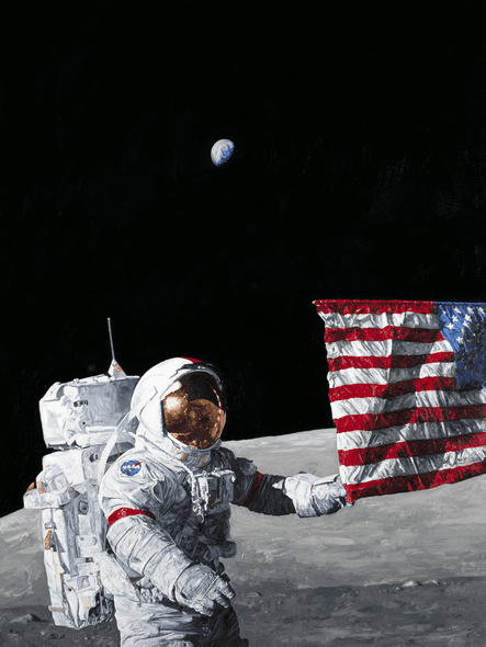 """Chris Calle Hand Signed and Numbered Limited Edition Giclee on Canvas:""""Last Man on the Moon"""""""