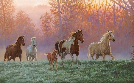 "Chris Cummings Handsigned and Numbered Limited Edition: ""Morning Sun – Horses"""