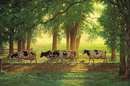 """Chris Cummings Hand Signed and Numbered Limited Edition Print:""""Heading Home - Holstein Cows"""""""