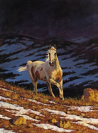 """Chris Cummings Limited Edition Print: """"Approaching Storm - Stallion (Right)"""""""
