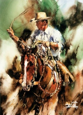 """Chris Owen Hand Signed and Numbered Limited Edition Print: """"Ranch Ropin"""""""