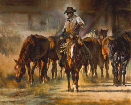 """Chris Owen Handsigned and Numbered Limited Edition Giclee : """"The Horse Wrangler"""""""