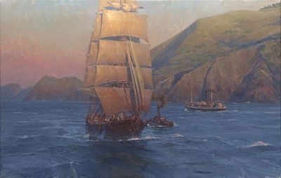 "Christopher Blossom Handsigned and Numbered Limited Edition Masterwork Giclee Canvas:""Sunrise in the Golden Gate, Down Easter Benjamin Packard"""