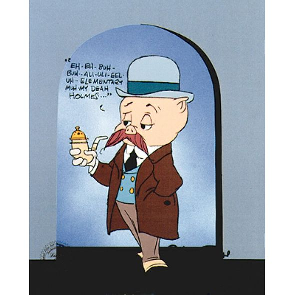 "Chuck Jones Animation Art Limited Edition Cel:""Porky Dr. Watson"""