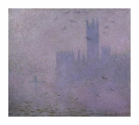 "Claude Monet Fine Art Open Edition Giclée:""Seagulls (The River Thames & Houses of Parliament, London)"""
