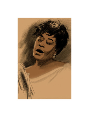 """Clifford Faust Limited Edition Pencil Signed Artist's Proof Giclee:""""Ella Fitzgerald"""""""