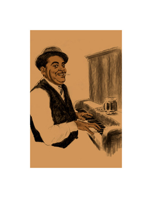 "Clifford Faust Limited Edition Pencil Signed Artist's Proof Giclee:""Fats Waller"""