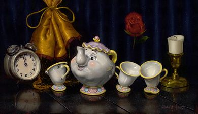"Clinton Hobart Hand-Embellished Limited Edition Canvas Giclee:""Time for Tea"""