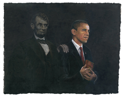 "Consuelo Gamboa Limited Edition Signed Giclee Ed. 550:""Inspiration (Barack Obama & Abraham Lincoln)"""