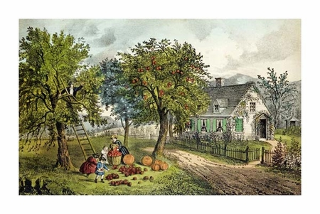 """Currier and Ives Fine Art Open Edition Giclée:""""American Homestead; Autumn"""""""