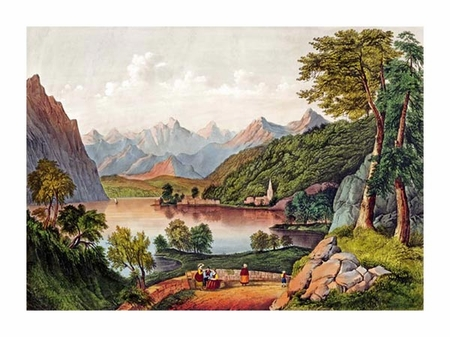 """Currier and Ives Fine Art Open Edition Giclée:""""Lake Lugano, Italy"""""""