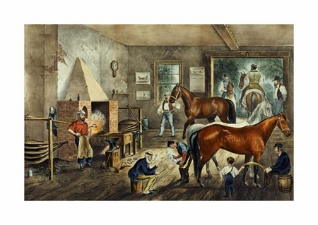 """Currier and Ives Fine Art Open Edition Giclée:""""Trotting Cracks' at the Forge"""""""