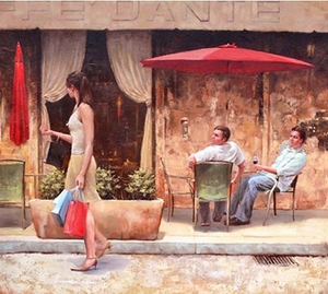 """Daniel Del Orfano Limited Edition Hand Embellished Giclee on Canvas:""""The Center of Attention"""" - Click to enlarge"""