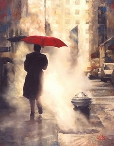 """Daniel Del Orfano Limited Edition Hand Embellished Giclee on Canvas:""""Walking Home """" - Click to enlarge"""