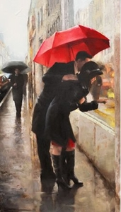 """Daniel Del Orfano Limited Edition Hand Embellished Giclee on Canvas:""""Window Shopping"""" - Click to enlarge"""