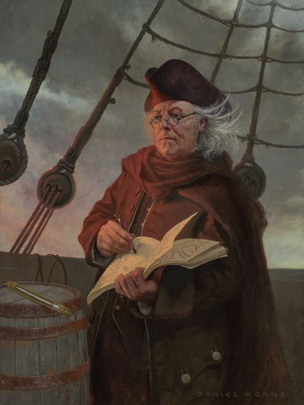 "Daniel Horne Open Edition Giclee on Canvas:""Ben Franklin Mapping the Gulf Stream"""