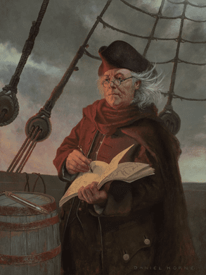 """Daniel Horne Open Edition Giclee on Canvas:""""Ben Franklin Mapping the Gulf Stream"""""""