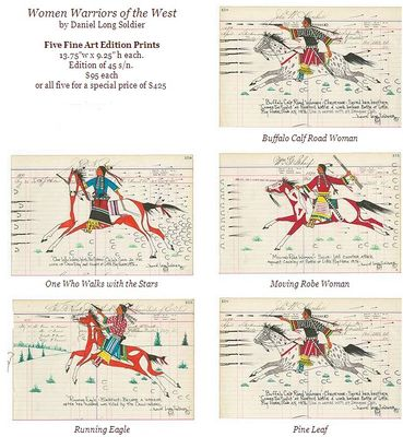 """Daniel Long Soldier Hand Signed and Numbered Fine Art Giclée:""""Women Warriors of the West (Suite of 5)"""""""
