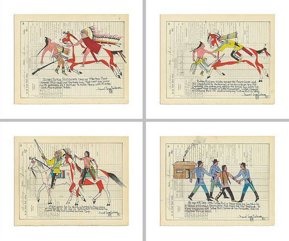 """Daniel Long Soldier Limited Edition Fine Art Giclée Diptych Print Suite: """"The Story of Sitting Bull (Set of 4)"""""""