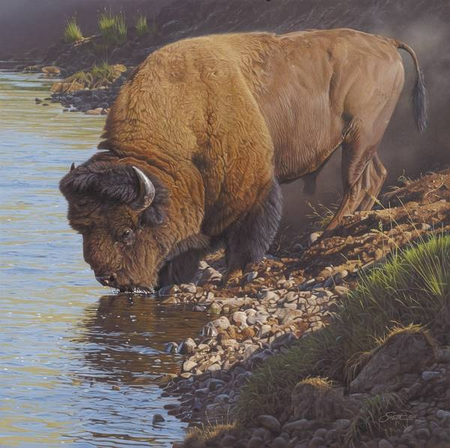 """Daniel Smith Handsigned and Numbered Limited Edition Giclee on Paper and Canvas:""""Lamar Libations"""""""