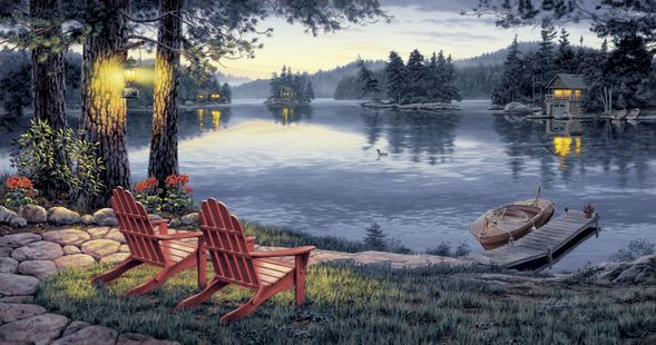 """Darrell Bush Handsigned and Numbered Limited Edition Canvas Giclee:""""Twilights Calm - Canvas"""""""