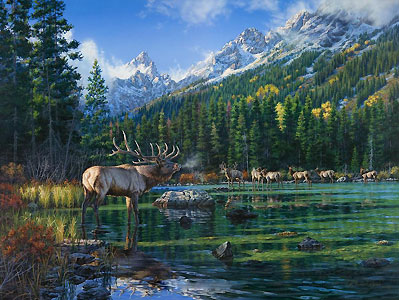 "Darrell Bush Handsigned & Numbered Limited Edition Giclee:""Challenge at String Lake"""