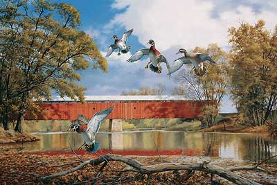 """David A. Maass Handsigned and Numbered Limited Edition Print:""""Eldean Bridge – Wood Ducks"""""""