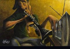 """David Garibaldi Handsigned and Numbered Limited Edition Giclee on Canvas:""""Urban Tunes"""""""