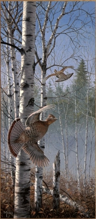 """David Maass Handsigned & Numbered Limited Edition:""""Rapid Departure - Ruffed Grouse"""""""