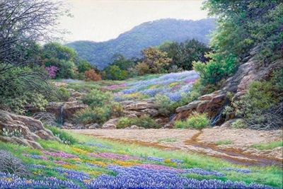 """Larry Dyke Artist Hand-Signed 24x36 Canvas Giclee:""""Hill Country Color - Bluebonnets"""""""