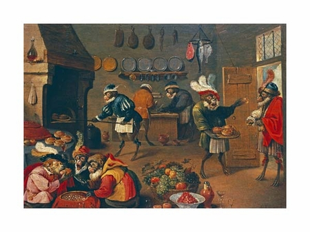 "David Teniers II Fine Art Open Edition Giclée:""Les Singes Cuisiniers. The Monkey's Cooks"""