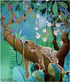 """David Utz  Artist Signed and Numbered Hand Pulled Serigraph on Paper: """"Jungle Siesta"""""""