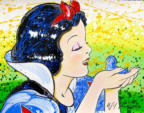 "David Willardson Hand Signed Limited Edition Serigraph:""Snow White, A Fine Feathered Friend"""