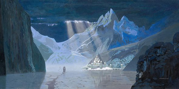 "David Womersley Disney Frozen Limited Edition Canvas Giclée:""Arendelle in Winter"""