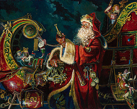 """Dean Morrissey Handsigned and Numbered Limited Edition Print:""""Preparing for the Journey (Father Xmas ll)"""""""