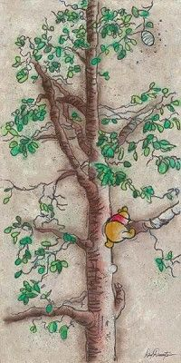 """Dick Duerrstein Artist Signed and Numbered Limited Edition Embellished Giclee on Canvas: """"Hunny Tree -Winnie the Pooh """""""