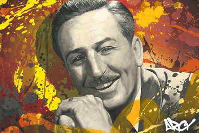 "Arcy Artist Signed Hand-Embellished Ltd Ed Gallery Wrap Canvas Giclee:""Walt Disney"""