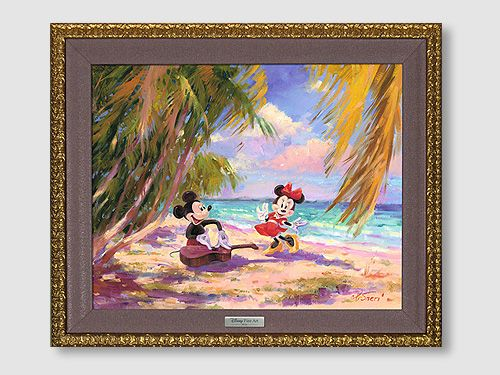 "Disney Framed Limited Edition Canvas Giclee:""Palm Trees and Island Breeze"" by Irene Sheri"
