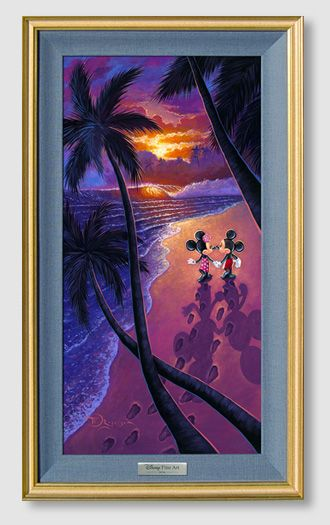 """Disney Framed Limited Edition Canvas Giclee:""""Sunset Stroll"""" by Tim Rogerson"""