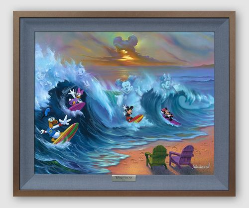 """Disney Framed Limited Edition Canvas Giclee:""""Surfing with Friends"""" by Jim Warren"""