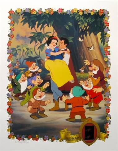"Disney Limited Edition Lithograph with Original Film Cels:""Snow White"""