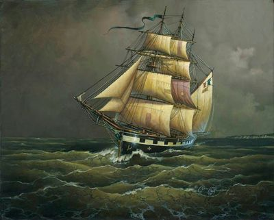 "Dean Morrissey Artist Signed Ltd Edition Giclee Canvas:""The Crossing of the Ghost Ship Bonnie Bowes"""