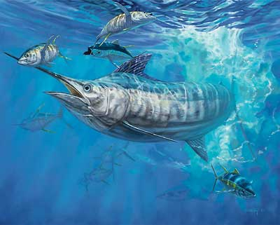 """Don Ray Handsigned and Numbered Limited Edition Print: """"Blue & Allisons - Blue Marlin"""""""