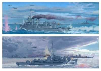 "Craig Kodera Diptych Limited Edition Canvas Giclee:""The Battle of Samar, Philippines 1944"""