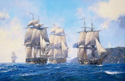 """Geoff Hunt Artist Signed Limited Edition Canvas Giclee:""""Captain Aubrey's Commands"""""""