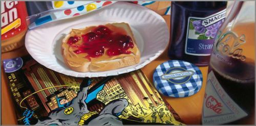 "Doug Bloodworth limited edition giclée on canvas:""Batman and Peanut Butter"""