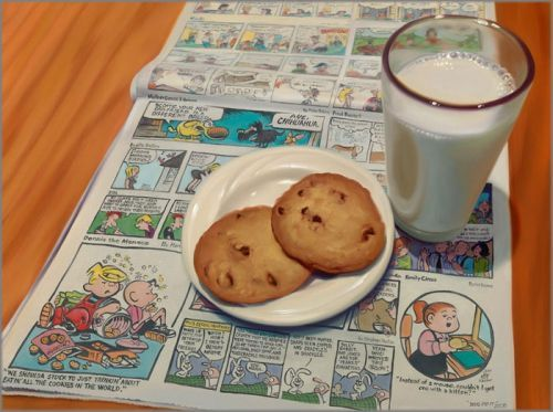"Doug Bloodworth limited edition giclée on canvas:""Cookies and Milk"""