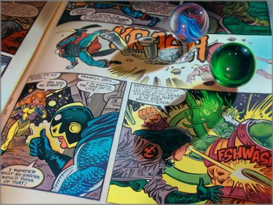 """Doug Bloodworth limited edition giclée on canvas:""""Marbles and Comics"""""""