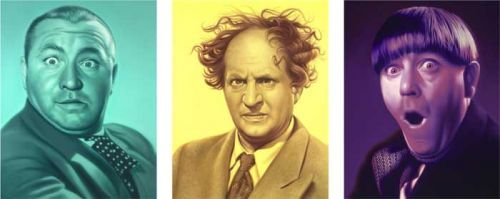 """Doug Bloodworth limited edition giclée on canvas:""""Three Stooges - Set of 3"""""""